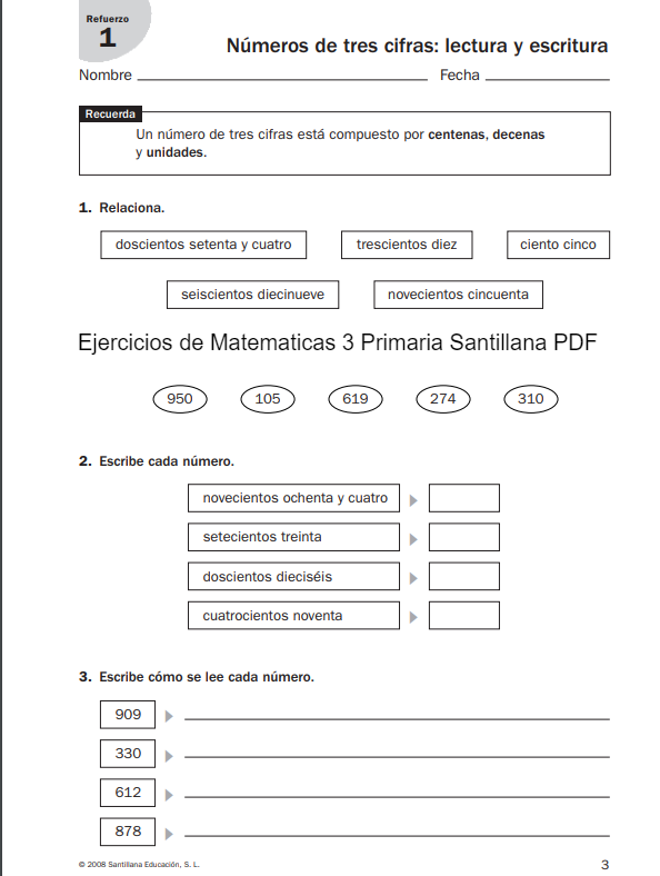 Ejercicios de Matematicas 3 Primaria Santillana PDF