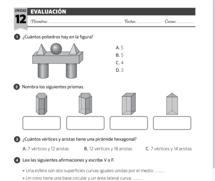 Examenes Matematicas 3 Primaria para imprimir