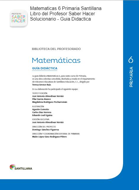 Solucionario Matematicas 6 Primaria Santillana Saber Hacer