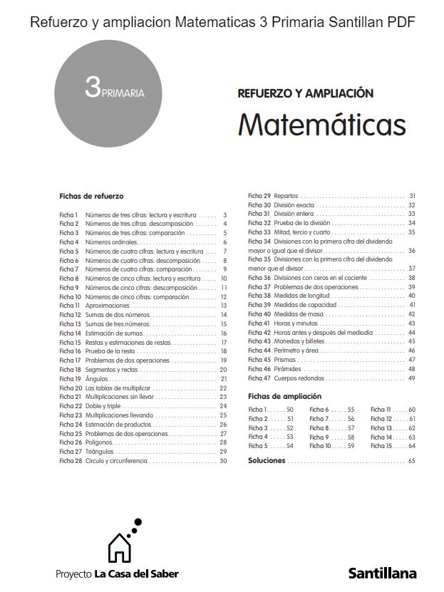 Refuerzo y ampliacion Matematicas 3 Primaria Santillana PDF