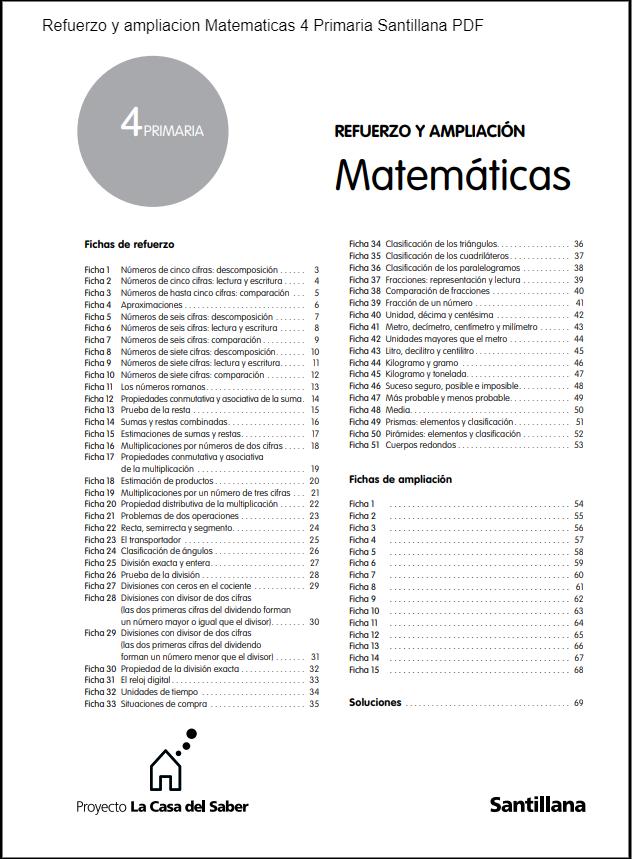 Refuerzo y ampliacion Matematicas 4 Primaria Santillana PDF