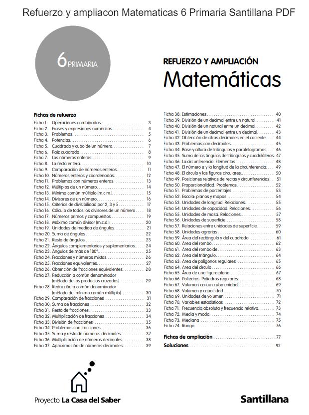 Refuerzo y ampliacon Matematicas 6 Primaria Santillana PDF